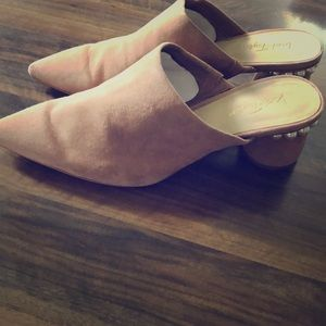 Lord & Taylor blush-colored and pearl mules